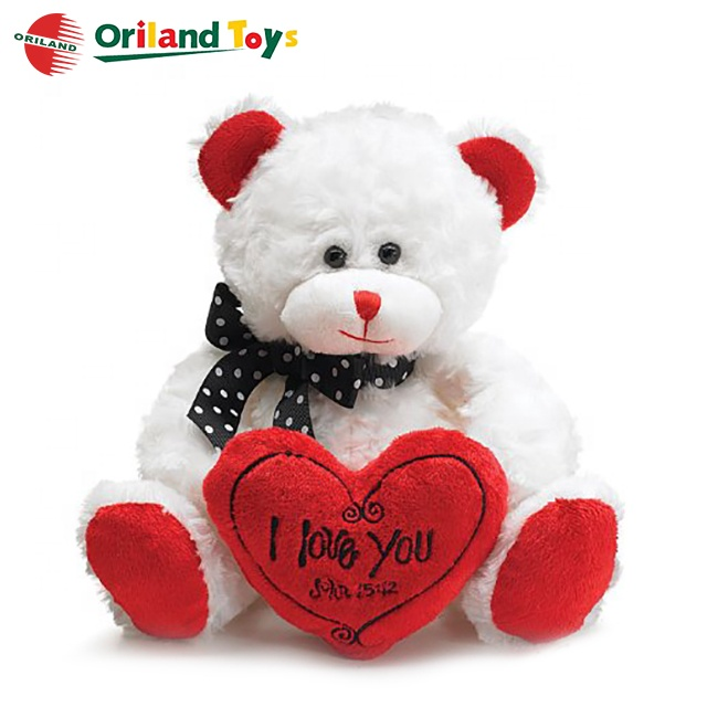 soft stuffed plush toys fancy valentines day teddy bear with heart