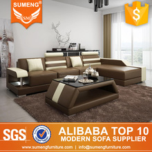SUMENG superb quality living room furniture l shaped leather sofa with led light