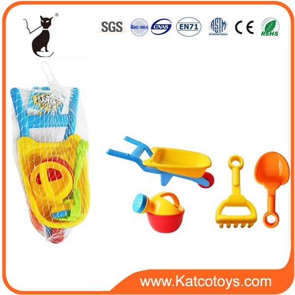 Hot sale plastic beach car set toy with beach shovels