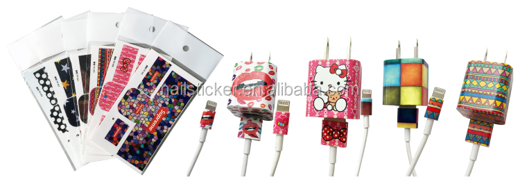 Custom personalized Phone charger sticker wrap charger identification stickers matching USB cord wrap