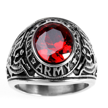 RI00052 Yiwu WT personality retro stainless steel jewelry Titanium steel stripe engraving eagle inlaid ruby ring