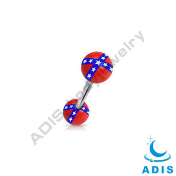 Acrylic Balls Tongue Barbell Ring with Stars Loge
