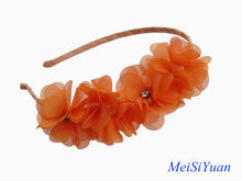 Fashion orange chiffon flower hairband with pearls and rhinestone for lady / hair accessories
