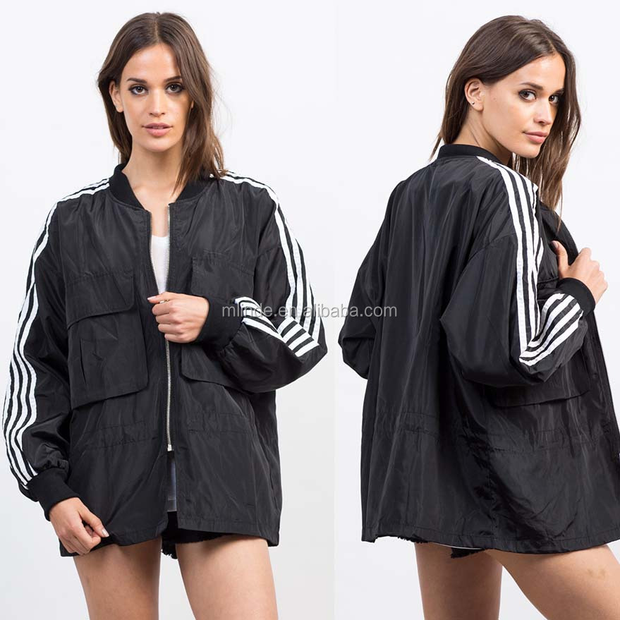 Woman Jacket Winter Coat 100% Polyester Sporty Long Sleeves Striped Bomber Windbreaker Jacket In New Model
