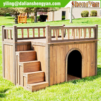 Double-decker wooden dog house with stair for sale