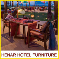 Beach dining table set and chairs / teak wood outdoor restaurant furniture for island resort