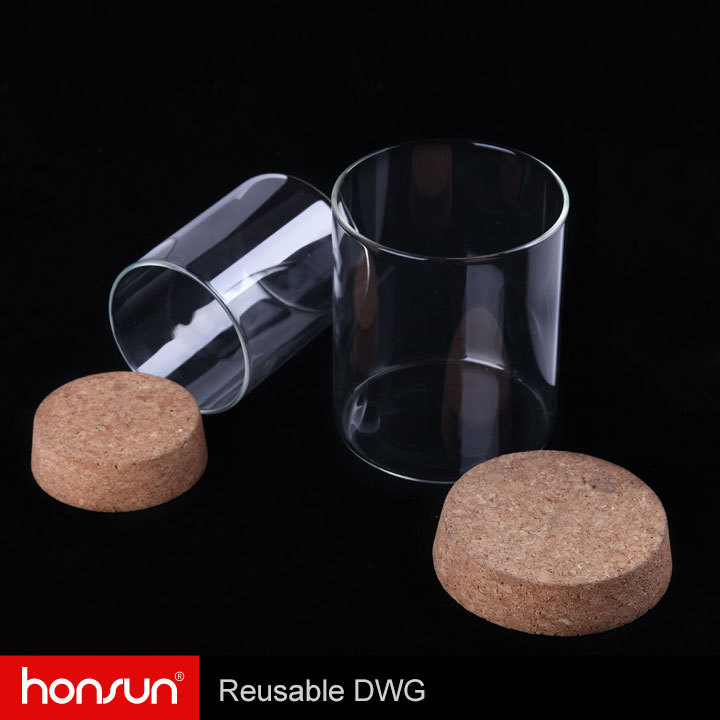 Superior quality borosilicate candle glass jar with cork lid