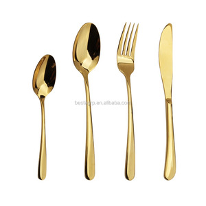 High mirror polish wedding gold plated cutlery set, rose gold flatware, spoon and fork gold cutlery.
