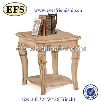 classical hand carved wood end table