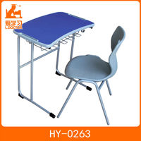 PP plastic back school furniture student single table and seat popular