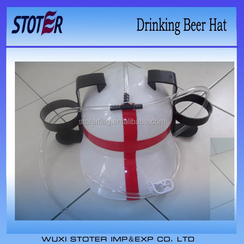 England flag Plastic beerd drink hat with straws