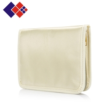 Japanese style beige zippered PU purse with magic sticker for women wallet