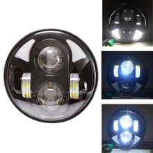 "5.75"" Round LED Projection Daymaker 5 3/4"" Headlight for Harleys Davidson Motorcycles Black 40W"