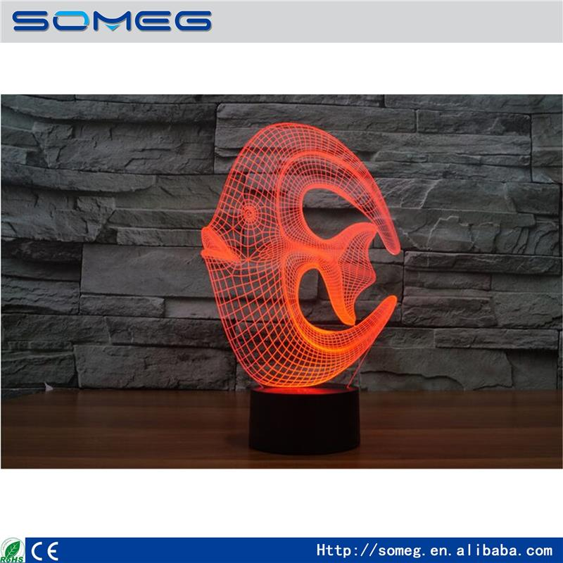 Factory direct wholesale acrylic colorful coral fish 3D light colorful lamp Nightlight creative visual light lamp