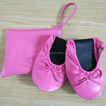 Ladies Pink Roll Up Flat Shoes Foldable Ballerina Shoes