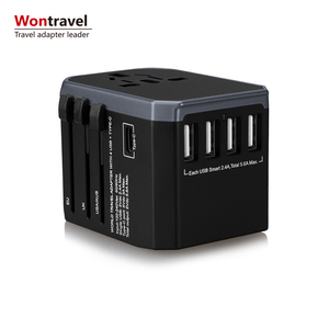 Wontravel New Design Smart USB Adapter Socket Universal Travel Charger, Type-C port and 4 USB with UK US AU EU Plug Adaptor