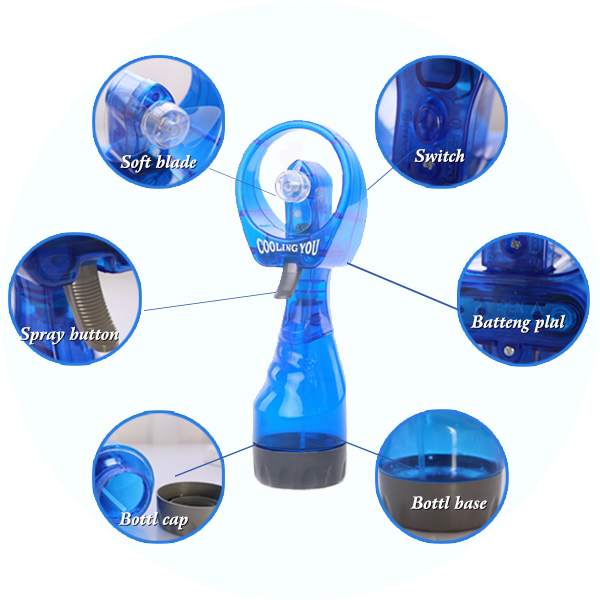 Plastic material multicolor portable water spray cooling fan water mist fan