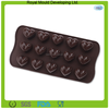 15-cubes heart shaped soft silicone chocolate cake mold,silicone ice cube tray