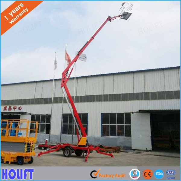 Holift brand towable hydraulic crank arm boom lift for aerial work