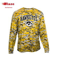 Wholesale custom men long sleeve dry fit camo t shirt printing