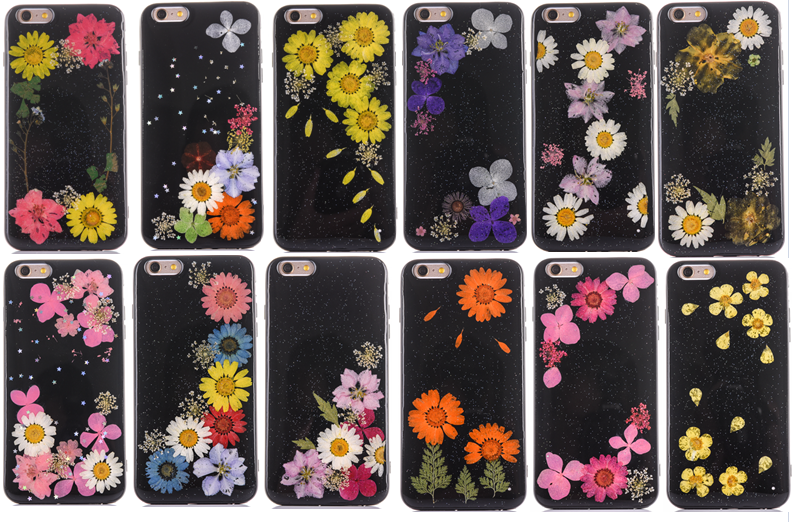 Beautiful Black tpu real flower case back cover for iPhone 6 6 Plus