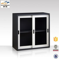 Office furniture low sliding glass door display cabinet