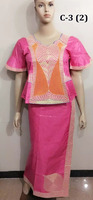 Low price african new bazin garment pink lady jacquard casual dress with sego headties C-3(2)