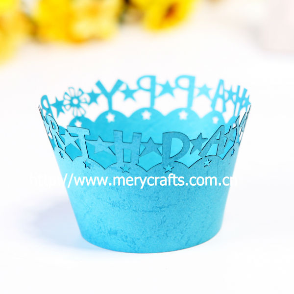 "Hot sale! laser cut happy birthday cupcake wrappers ""little prince"" happy birthday decoration"