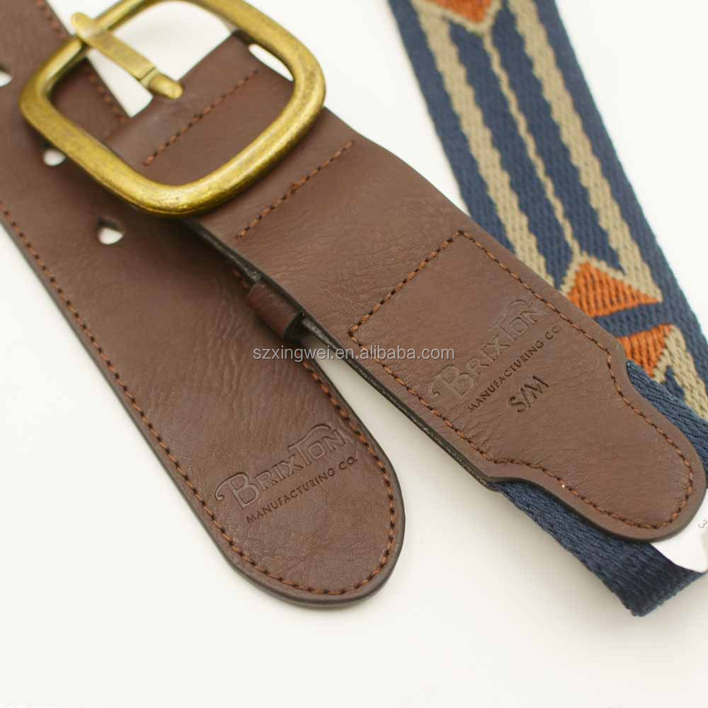 new style Embroidery canvas belt with genuine leather combination