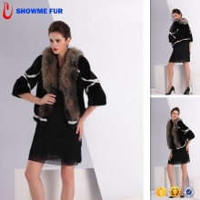 Black Color Mink Coat Fur Jacket For Women With Fox Fur Collar