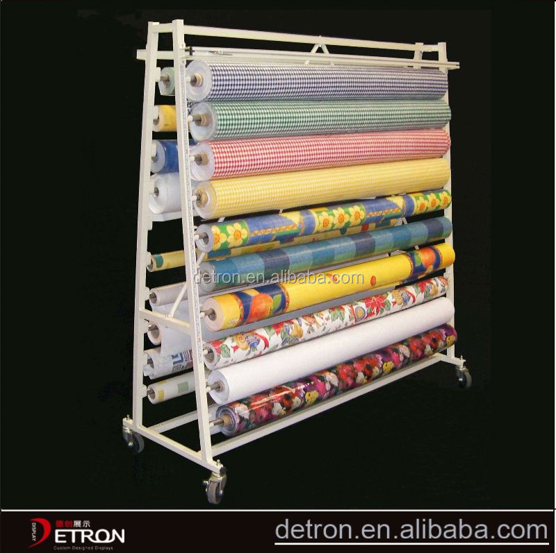 Metal flooring fabric roll display stands