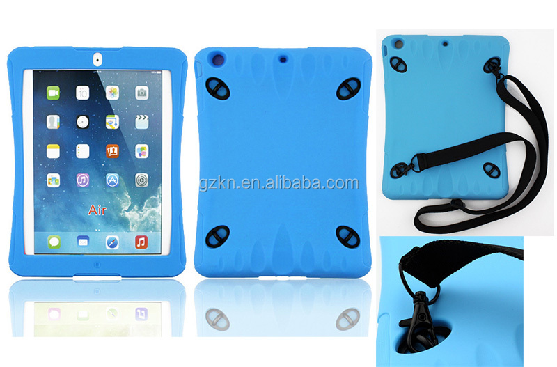 Soft silicone tablet case for iPad Air,Shoulder strap bumper cover for Apple iPad