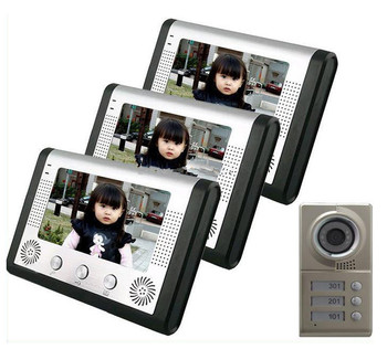 7 inch LCD house color video doorphone camera with 3 buttoms for 3 different room