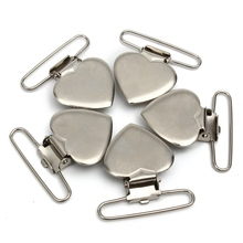 Metal Heart Shape Insert Pacifier Holder Suspender Clips Mitten For Home Garment Craft
