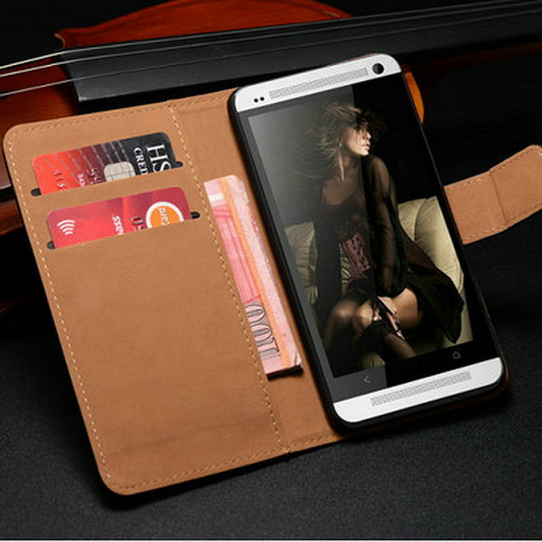 New Product Accessory Mobile Phone Case Used PU Leather Pocket Size Universal Book Style Bag Cover for HTC One M7 Phone