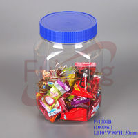 1L clear dried fruits storage containers, empty airless plastic bean nuts jars, large square plastic candy jar wholesale