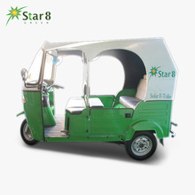 Hybrid tricycle tourist rickshaw lithium battery 3 wheeler taxi big engine electric trike open solar tuktuk for passenger