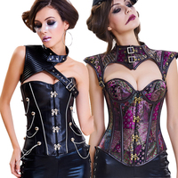 Halloween Women's Vintage Retro Steel Boned Steampunk Costume Bustiers Corsets