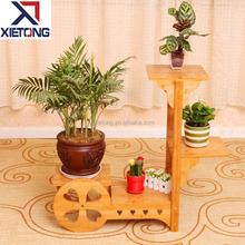 Nice Wooden Bamboo Flower Pot Display Shelf
