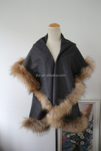 Latest Wool & Cashmere Outwear Womens Capes With Raccoon Fur Trim