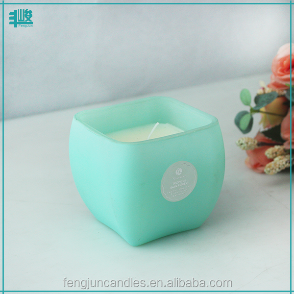 FJ-GB308T green color ceramic effect decorative birthday fancy glass jars natural soy candle