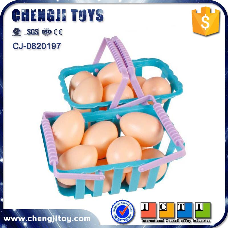 Kitchen food play set mini chicken eggs with basket plastic egg toy for sale