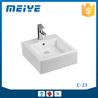 C23 Modern Bathroom Design, Quality Square Art Basin, Bathroom Mounting Above Cabinet White Ceramic Washbasin Bowl