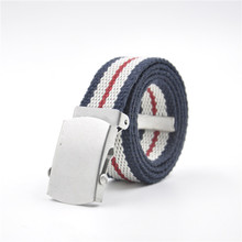 nice fancy colored casual cotton polyester canvas belt for gils woman factory