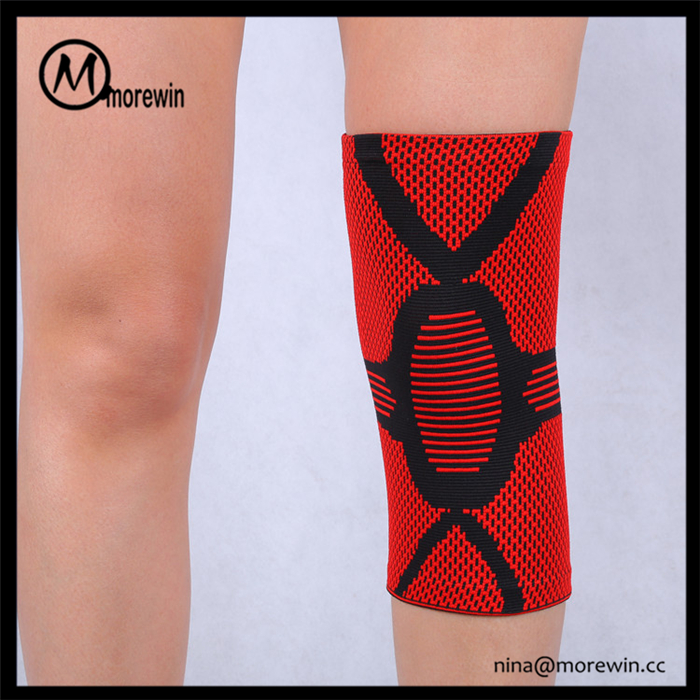 Morewin Professional High Quality Polyester Lycra Elastic Compression Calf Sleeves Knee Pads Sleeve Red