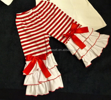 merry christmas girls leggings red bow christmas ruffle pants usa kids holiday winter pants