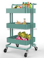 Movable ikea style stainless steel kitchen trolley prices with three units and armrest