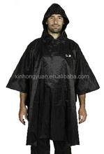 hooded black poncho raincoat for men and women