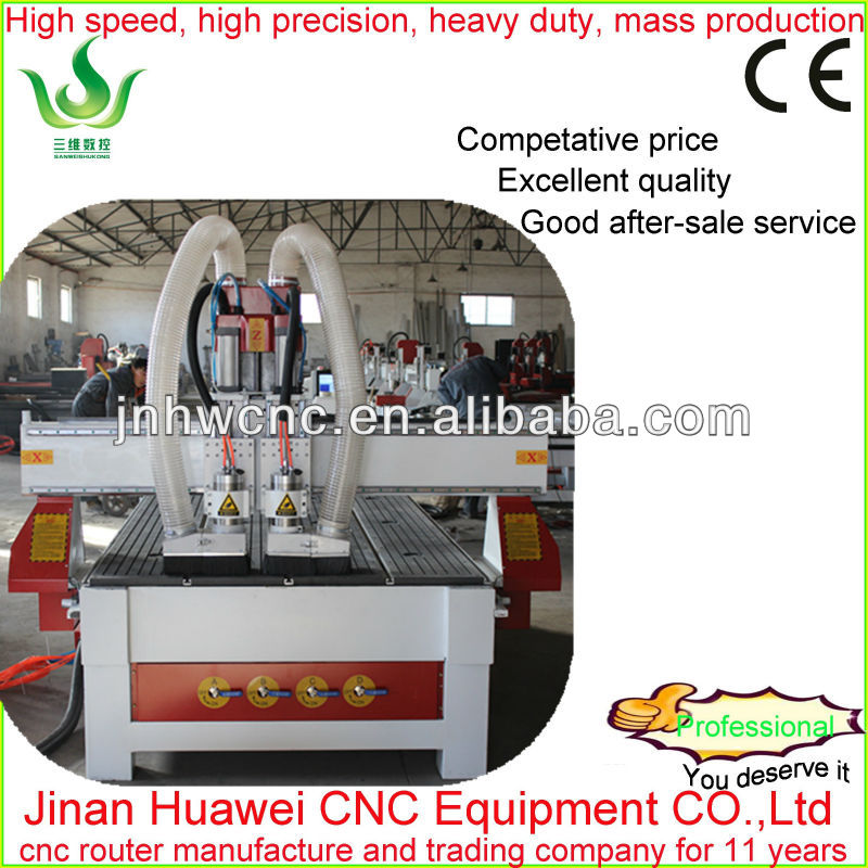 ATC New type pneumatic double toor changer engraving machine for embossment wood engraving