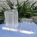 two-piece set visual crystal building model for office decoration